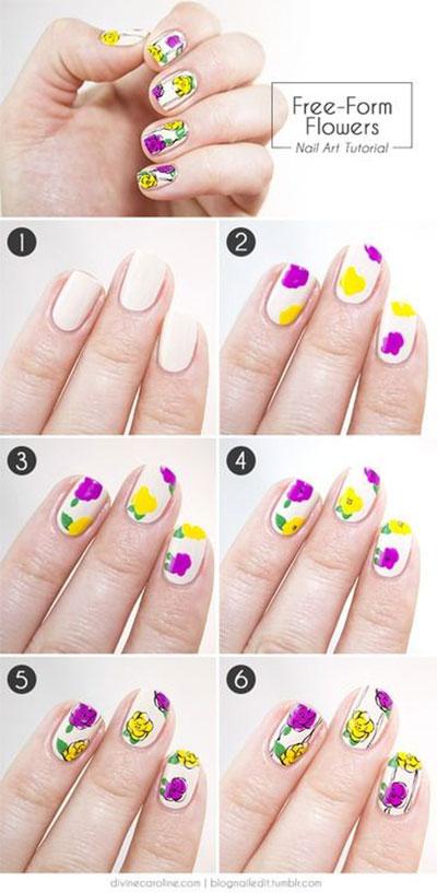 Nail Art Flower Designs Beginners Flowers Nail Art Tutorials