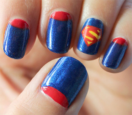 Superman Nail Art - 12 Easy Superman Nail Art Designs, Ideas, Trends, Stickers & Wraps