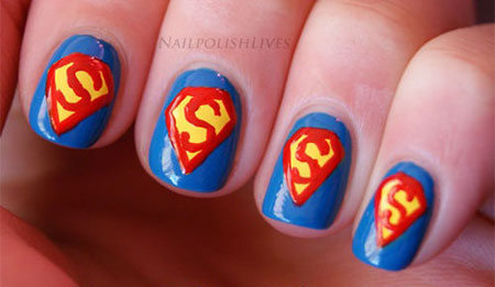 12-Easy-Superman-Nail-Art-Designs-Ideas-Trends- - 12 Easy Superman Nail Art Designs, Ideas, Trends, Stickers & Wraps