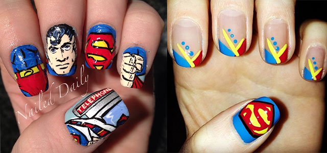 12 Easy Superman Nail Art Designs, Ideas, Trends, Stickers & Wraps 2014 |  Fabulous Nail Art Designs - 12 Easy Superman Nail Art Designs, Ideas, Trends, Stickers & Wraps