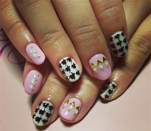 50-Best-Houndstooth-Nail-Art-Designs-Ideas-Trends-Stickers-Wraps-2014-1