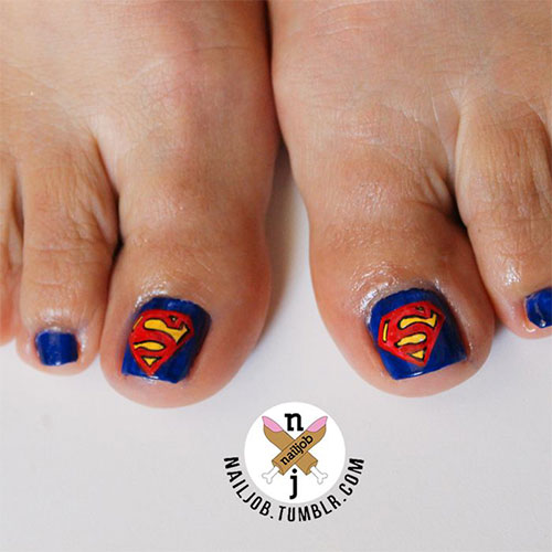 Cool-Superman-Toe-Nail-Art-Designs-Ideas-2014-1