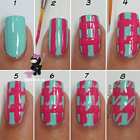 Easy-Houndstooth-Nail-Art-Tutorials-For-Beginners-Learners-2014-1