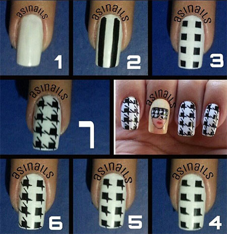 Easy-Houndstooth-Nail-Art-Tutorials-For-Beginners-Learners-2014-2