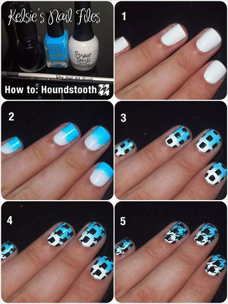 Easy-Houndstooth-Nail-Art-Tutorials-For-Beginners-Learners-2014-3
