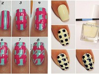 Easy-Houndstooth-Nail-Art-Tutorials-For-Beginners-Learners-2014