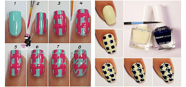 Easy Houndstooth Nail Art Tutorials For Beginners Learners 2014