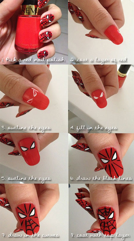 Easy-Spiderman-Nail-Art-Tutorials-For-Beginners-Learners-2014-1