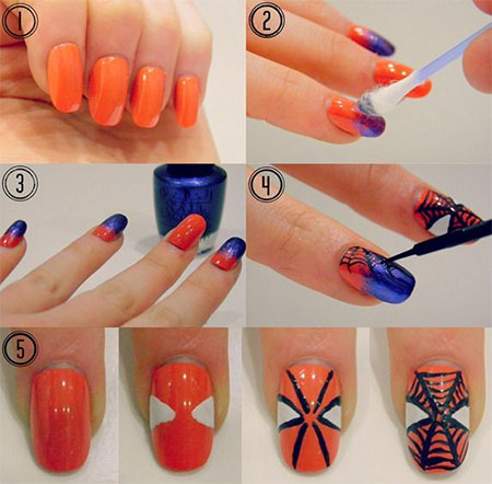 Easy-Spiderman-Nail-Art-Tutorials-For-Beginners-Learners-2014-3