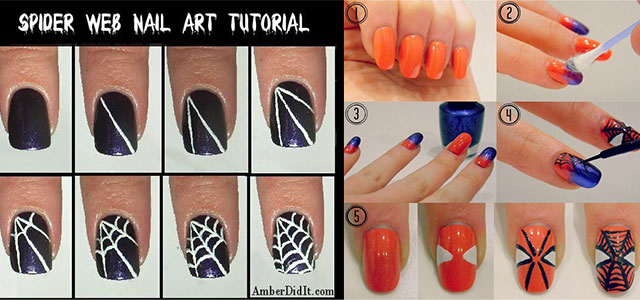 Easy-Spiderman-Nail-Art-Tutorials-For-Beginners-Learners-2014