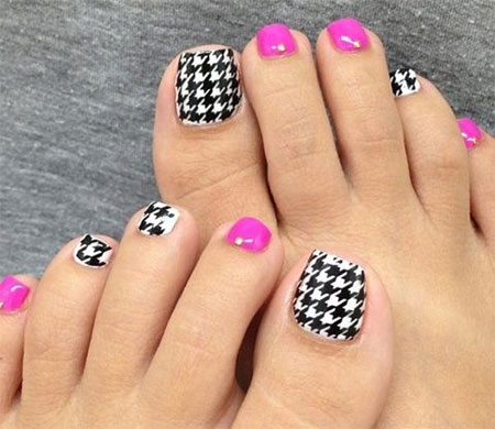 New Houndstooth Toe Nail Art Designs Ideas Trends