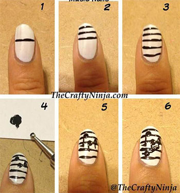 Simple-Music-Nail-Art-Tutorials-2014-For-Beginners-Learners-3