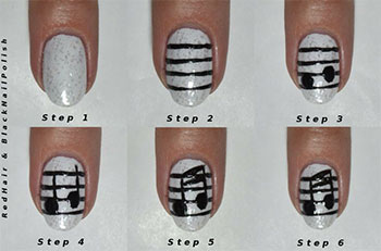 Simple-Music-Nail-Art-Tutorials-2014-For-Beginners-Learners-5