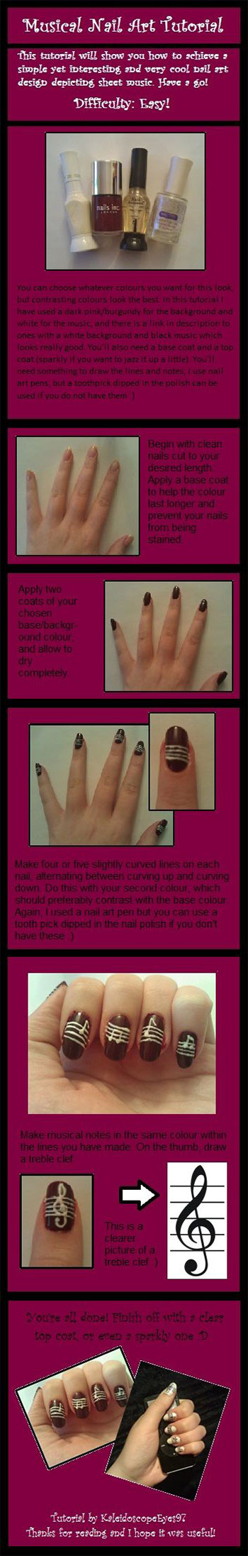 Simple-Music-Nail-Art-Tutorials-2014-For-Beginners-Learners-6