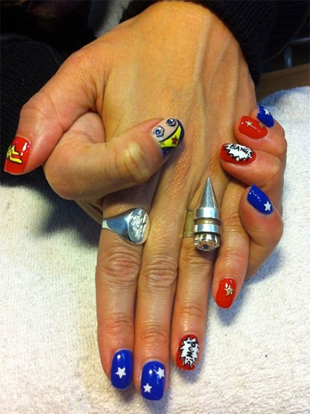 10 +Amazing Wonder Woman Nail Art Designs, Ideas, Trends
