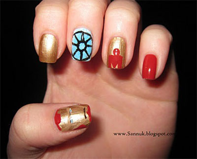 12-Easy-Iron-Man-Inspired-Nail-Art-Designs-Ideas-Trends-Stickers-2014-7