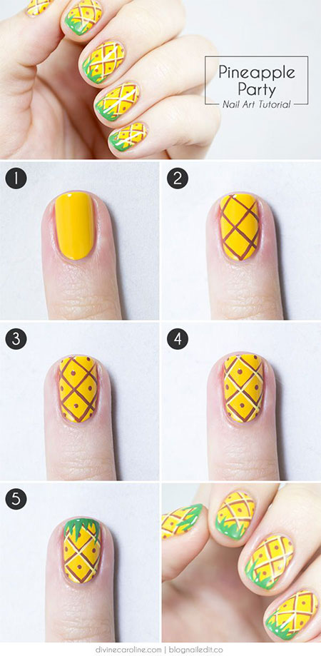 15-Easy-Summer-Inspired-Nail-Art-Tutorials-For- - 15 + Easy Summer Inspired Nail Art Tutorials For Beginners