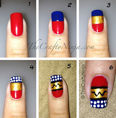 Easy-Simple-Wonder-Woman-Nail-Art-Tutorials-For-Beginners-Learners-2014-1