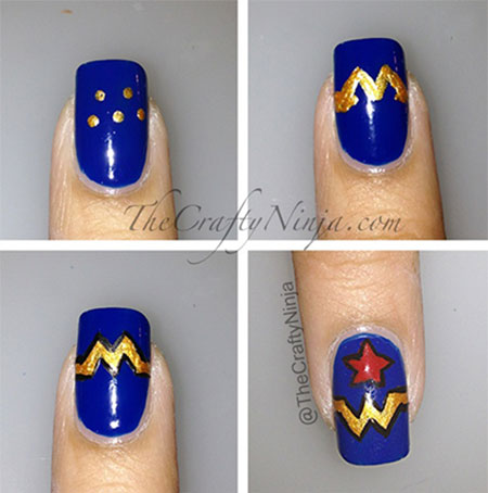 Easy-Simple-Wonder-Woman-Nail-Art-Tutorials-For-Beginners-Learners-2014-2