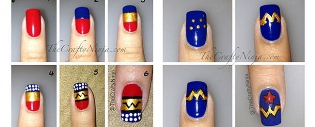 Easy & Simple Wonder Woman Nail Art Tutorials For Beginners & Learners 2014  - Fabulous Nail - Superhero Nail Art Graham Reid