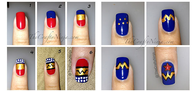 Easy-Simple-Wonder-Woman-Nail-Art-Tutorials-For-Beginners-Learners-2014