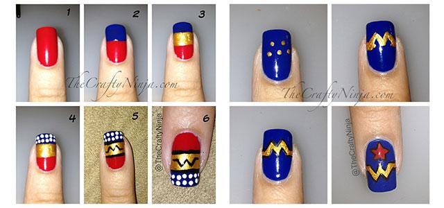 Easy-Simple-Wonder-Woman-Nail-Art-Tutorials-For-Beginners-Learners-2014