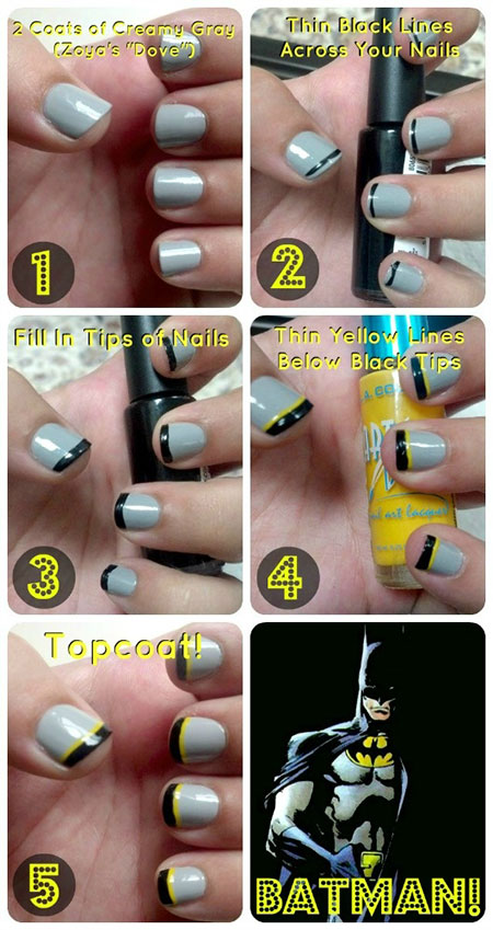 Very Easy & Step By Step Batman Nail Art Tutorials For Beginners ...
