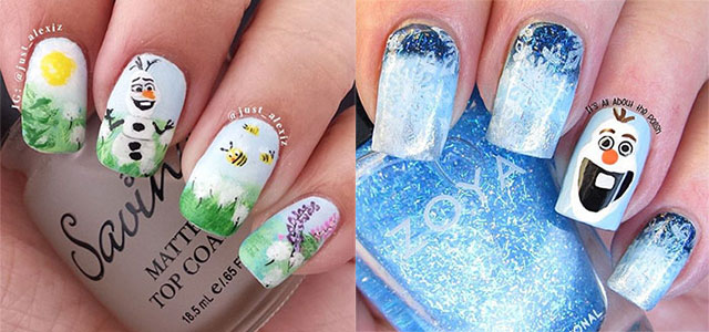 15 Disney Frozen Olaf Nail Art Designs Ideas Trends