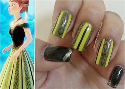 disney frozen inspired anna nail art designs ideas