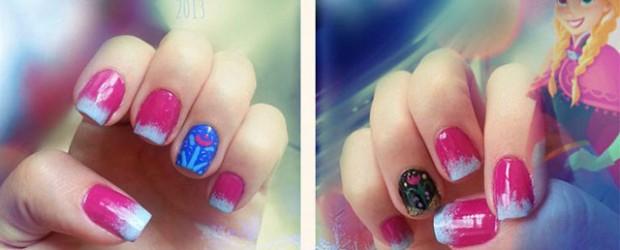 Disney-Frozen-Inspired-Anna-Nail-Art-Designs-Ideas-Stickers-2014-Anna-Nails
