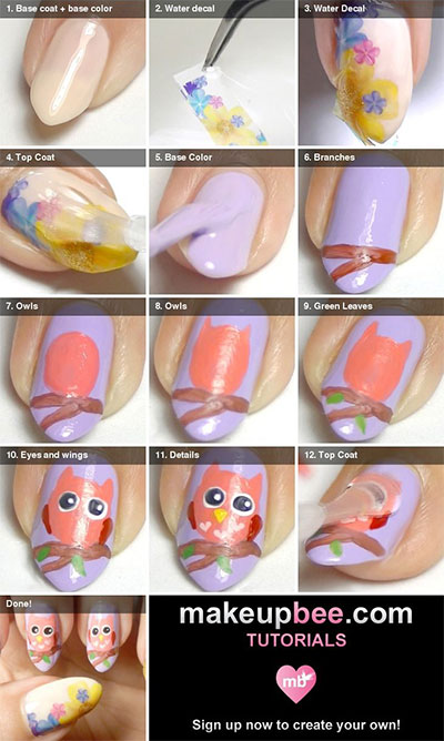 10-Easy-Step-By-Step-Owl-Nail-Art-Tutorials-For-Beginners-2014-3