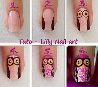 10-Easy-Step-By-Step-Owl-Nail-Art- - 10 + Easy Step By Step Owl Nail Art Tutorials For Beginners 2014