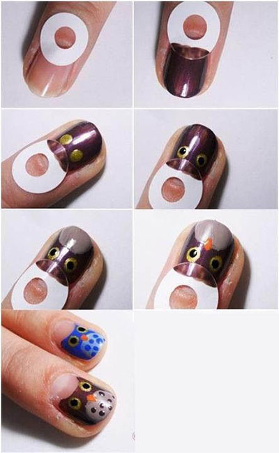 10-Easy-Step-By-Step-Owl-Nail-Art-Tutorials-For-Beginners-2014-7