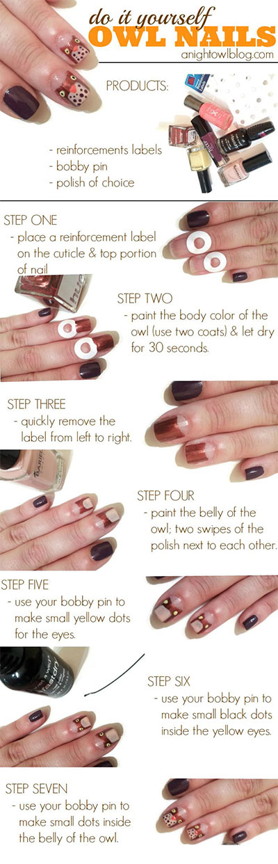 10-Easy-Step-By-Step-Owl-Nail-Art-Tutorials-For-Beginners-2014-8