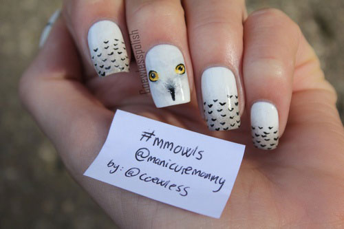 15-Cute-Owl-Nail-Art-Designs-Ideas-Trends- - 15 Cute & Simple Owl Nail Art Designs, Ideas, Trends & Stickers