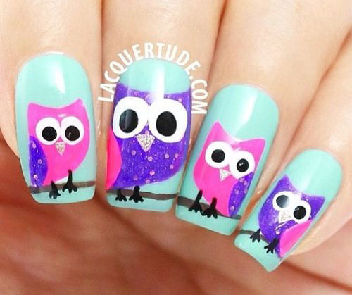 15-Owl-Nail-Art-Designs-Ideas-Trends-Stickers-2014-13
