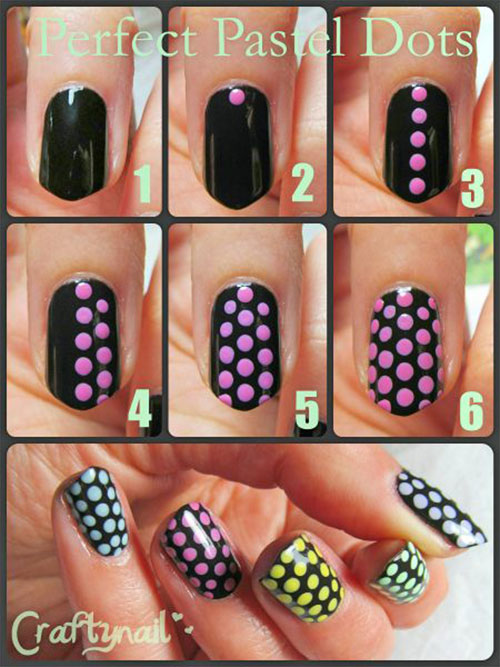 Craftynail: 20 Simple Step By Step Polka Dots Nail Art Tutorials For