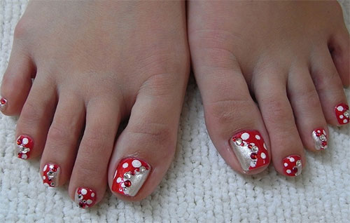Easy-Polka-Dots-Toe-Nail-Art-Designs-Ideas-Trends-2014-1