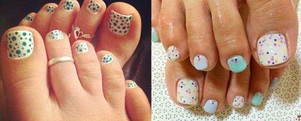 Easy Polka Dots Toe Nail Art Designs Ideas Trends 2014