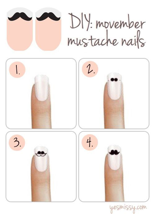 Easy-Simple-Mustache-Nail-Art-Tutorials-For-Beginners-Learners-2014-2