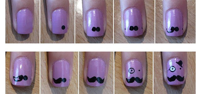 Easy & Simple Mustache Nail Art Tutorials For Beginners ...