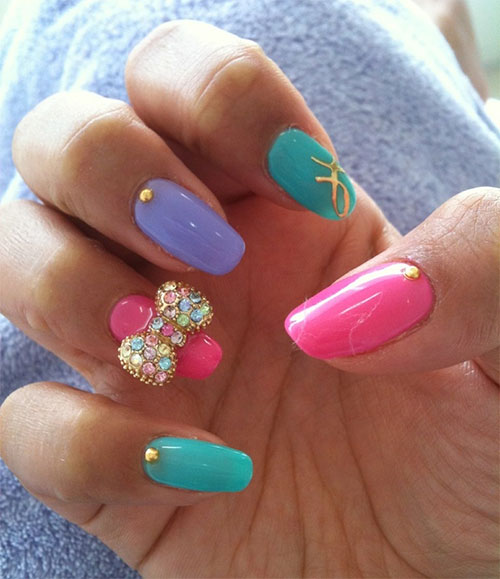 Art Designs: 12 + Stylish 3D Bows Nail Art Designs, Ideas, Trends