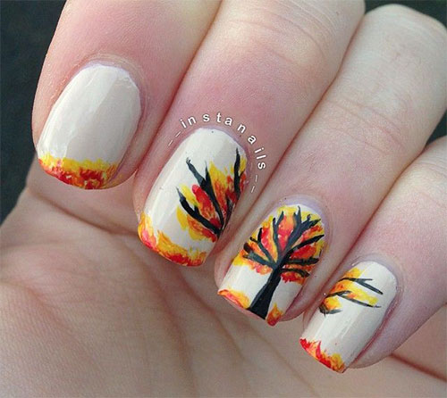Simple Fall Nail Designs: 15 + Amazing Fall / Autumn Nail Art Designs, Ideas, Trends