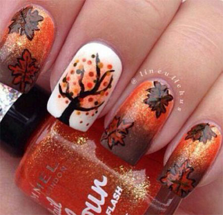 15 + Best Autumn Leaf Nail Art Designs, Ideas, Trends & Stickers ...