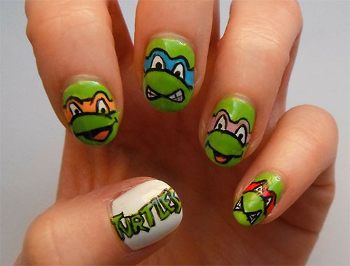 20-Teenage-Mutant-Ninja-Turtles-Nail-Art-Designs- - 20 Teenage Mutant Ninja Turtles Nail Art Designs, Ideas & Stickers