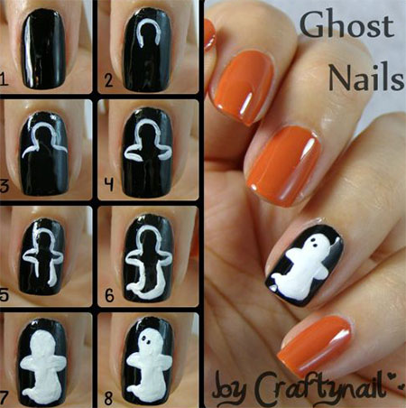 12  easy stepstep halloween nail art tutorials for