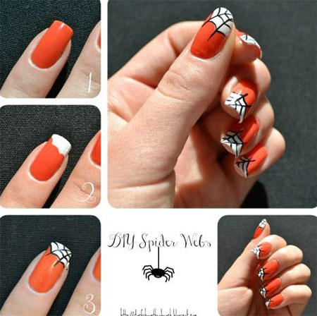 12-Easy-Step-By-Step-Halloween-Nail-Art- - 12 + Easy Step By Step Halloween Nail Art Tutorials For Beginners