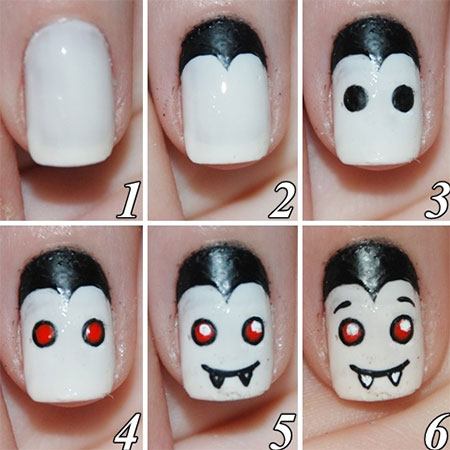 12 easy step by step halloween nail art - Halloween Easy Nail Art