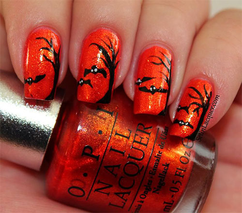 12 halloween bat nail art designs ideas trends - Simple Halloween Nails Designs. 25 Halloween Nail Art Designs Cool