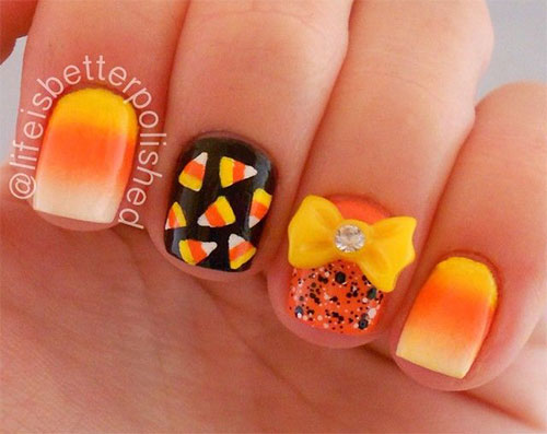 15-Halloween-Candy-Corn-Nail-Art-Designs-Ideas- - 15 + Halloween Candy Corn Nail Art Designs, Ideas, Trends